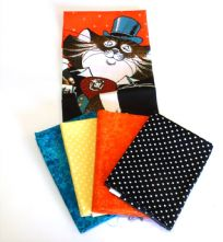 100% Cotton Dapper Cat Panel + 4 Fat Quarters